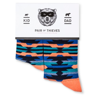 Men's Dad/Kid Sock Sets  Pair of Thieves- Red, Turq, and Purple Navajo S