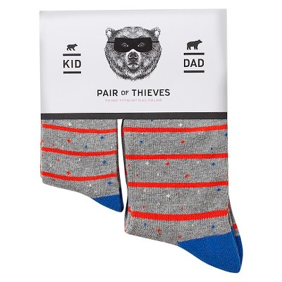 Men's Dad/Kid Sock Sets  Pair of Thieves- Grey Nep Stripes S