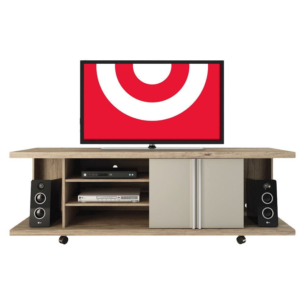 Manhattan Comfort Carnegie TV Stand in Nature and Nude, Beige Nude