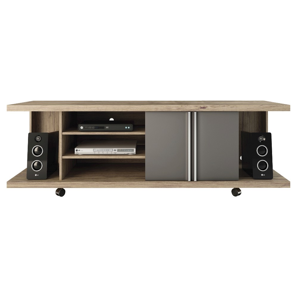 Manhattan Comfort Carnegie TV Stand in Nature and Onyx, Grey