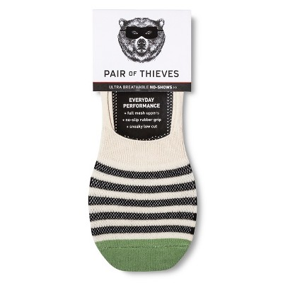 Men's Sock Liners Pair of Thieves - Black and Cream w Green 8-12