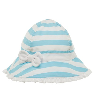Baby Girls' Striped Microfiber Bucket Hat Blue/White 12-24M