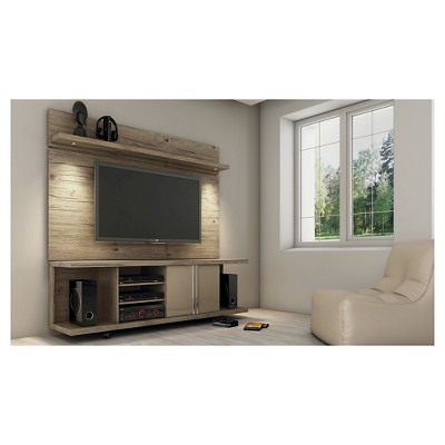 Manhattan Comfort Carnegie TV Stand and Park 1.8 Panel in Nature and Nude
