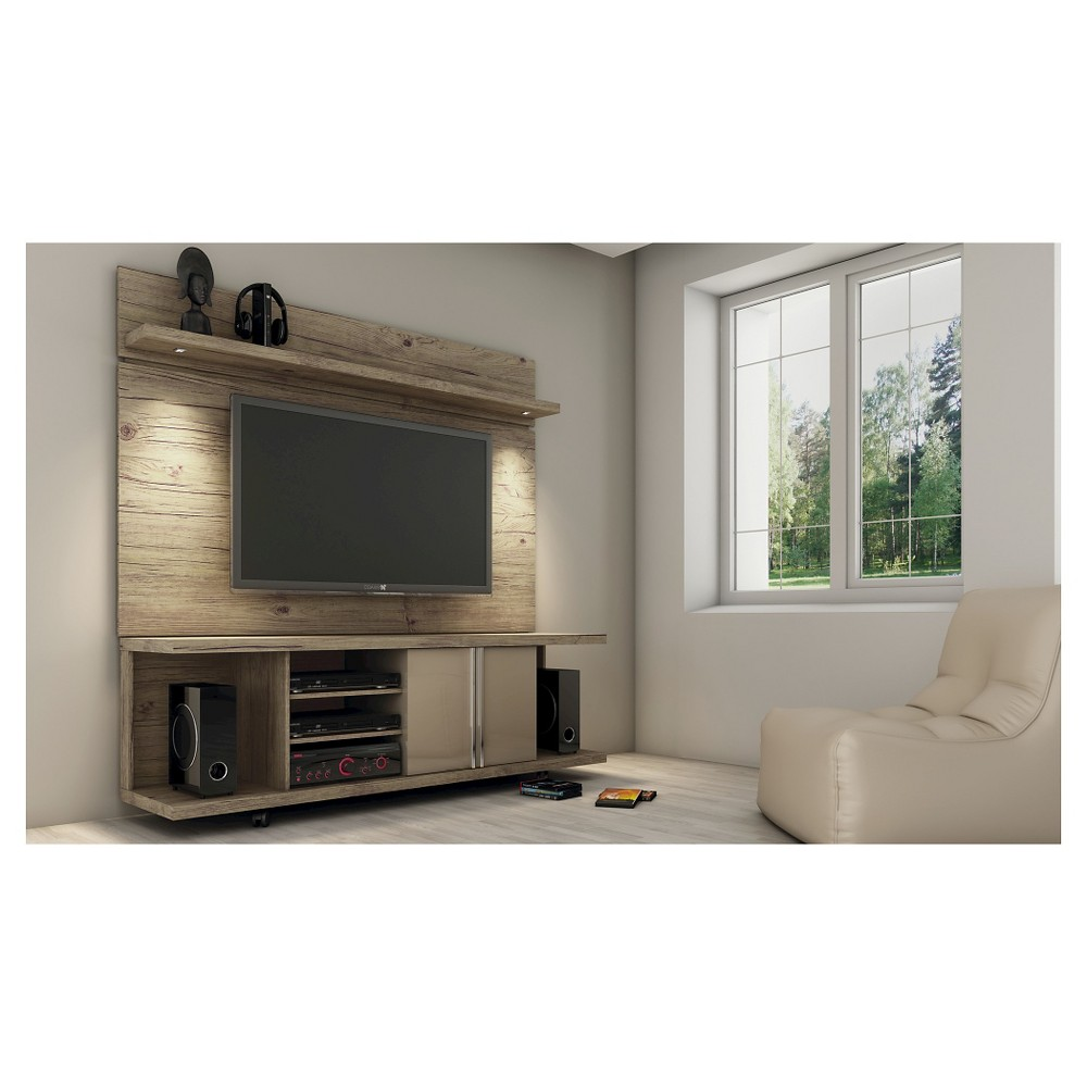 Manhattan Comfort Carnegie TV Stand and Park 1.8 Panel in Nature and Nude, Beige Nude