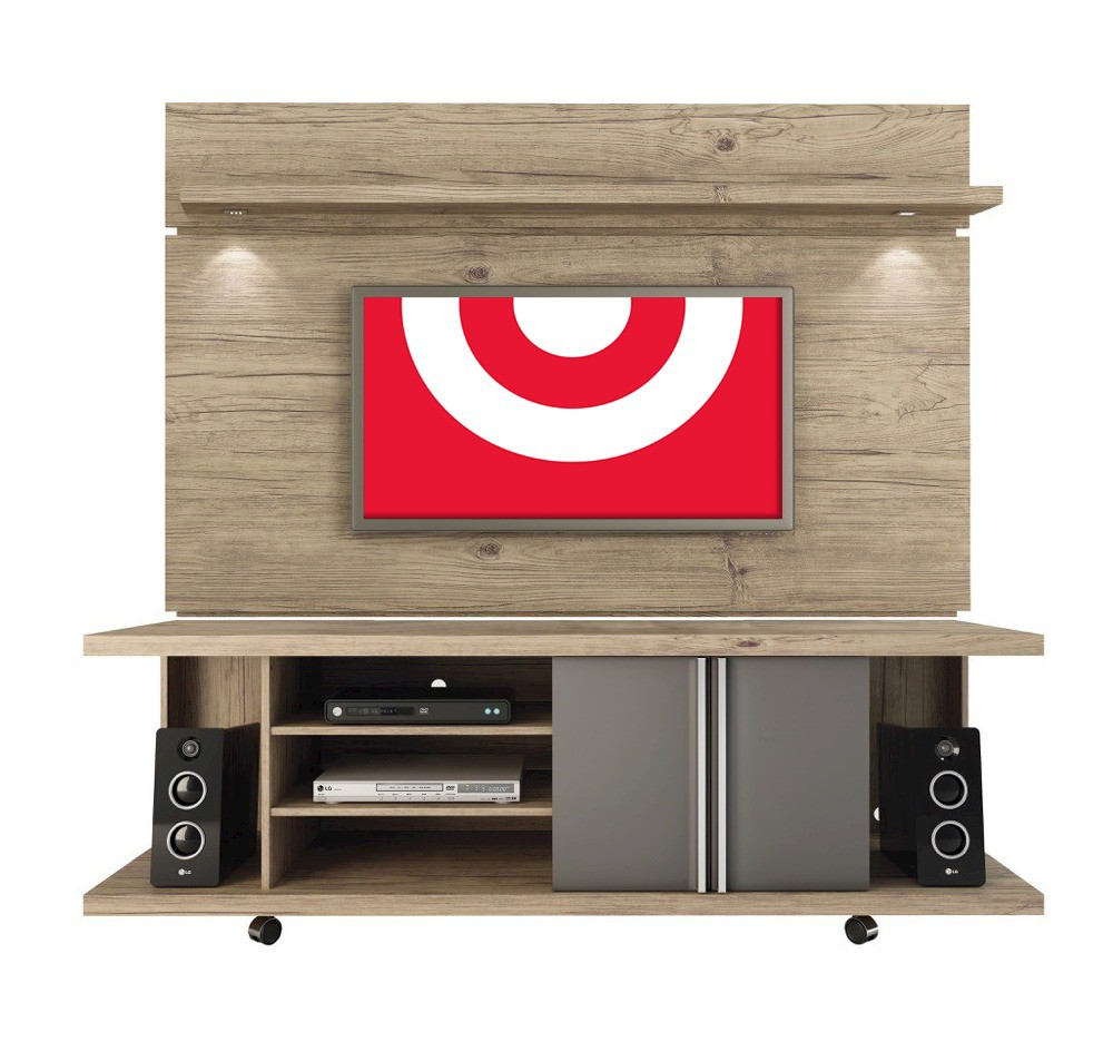 Manhattan Comfort Carnegie TV Stand and Park 1.8 Panel in Nature and Onyx, Grey