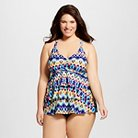Women's Plus Size Tiered Tankini Swim Top Multi-Colored 16W - VM