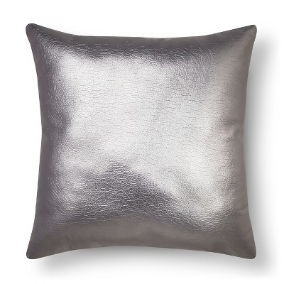 Metallic Faux Leather Decorative Pillow Silver - Xhilaration™