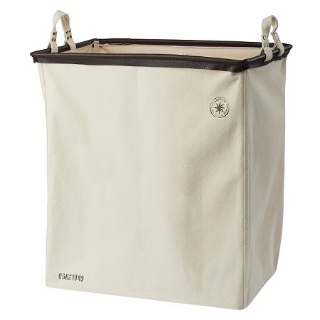 American vintage divided laundry sorter cream canvas - Divided laundry hampers ...