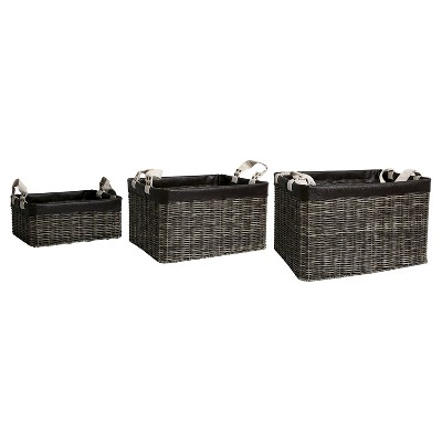 American Vintage™ Storage Bins Wicker - Brown