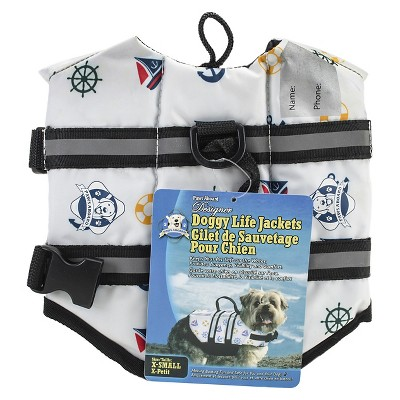 Paws Aboard Nautical Dog Fido Doggy Life Jacket (Extra Small)