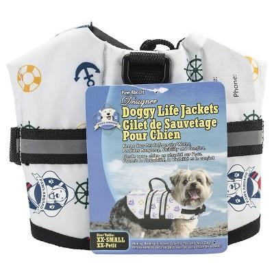 Paws Aboard Nautical Dog Fido Doggy Life Jacket (XXS)