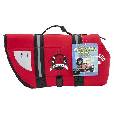 Paws Aboard Fido Neoprene Doggy Life Jacket - Red (Large)