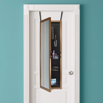 Over-the-Door Storage Mirror-Brass - Room Essentials™