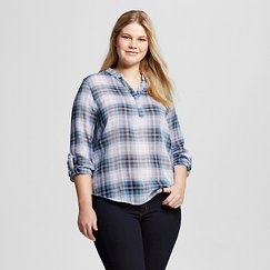 Women's Plus Size Roll Tab Sleeve Plaid Shirt - Perch (Juniors')