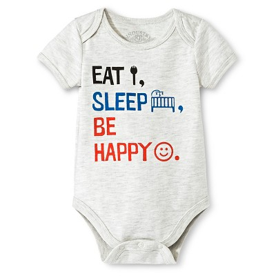 Industry 9 Newborn Eat, Sleep, Be Happy Bodysuit - 3-6M Off White