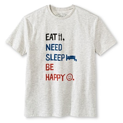 Industry 9 Adult Eat, Sleep, Be Happy T-Shirt - L Off White