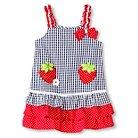 Katie M. Toddler Girl Strawberry Seersucker Sundress Blue - 2T