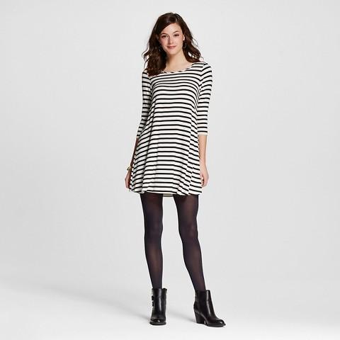 Women's A Line Long Sleeve Striped Swing Dress Black/White - Le Kate