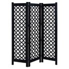 """Exquisite 72"""" Wooden Three Panel Screen in Black and White"""
