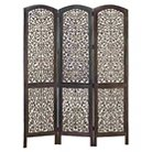 Wood 3 Panel Screen Decently Carved With Leaf Design