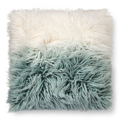 Ombre Mongolian Fur Decorative Pillow  Blue - Xhilaration™