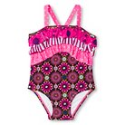 Baby Girls' Floral One Piece Swimsuit Pink/Ebony 9M - Circo™