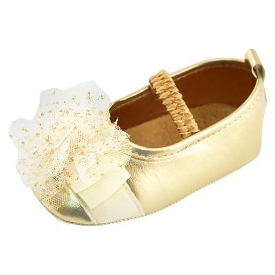 Baby Girls' Rising Star Metallic Mary Jane Crib Shoes Gold 3-6M