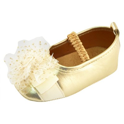 Baby Girls' Rising Star Metallic Mary Jane Crib Shoes Gold 6-9M