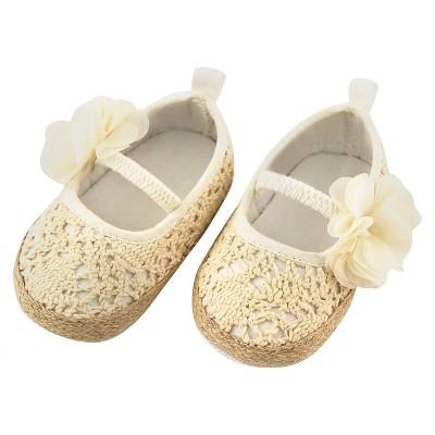Baby Girls' Rising Star Flower Crochet Espadrille Crib Shoes Tan 3-6M
