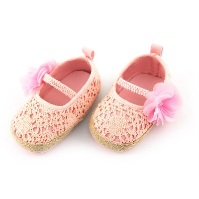 Baby Girls' Rising Star Flower Crochet Espadrille Crib Shoes Pink 6-9M
