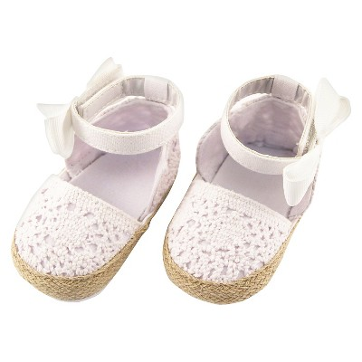 Rising Star Baby Girls' Crochet Espadrilles - White 3-6 M