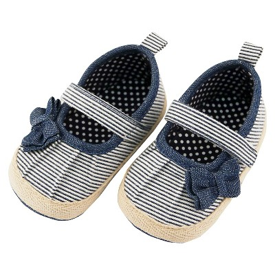 Baby Girls' Rising Star Bow Espadrille Crib Shoes Navy 6-9M