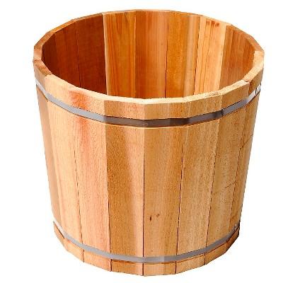 "Susquehanna 18.5x18.5x15.5"" Large Cedar Barrel Planter - Natural"