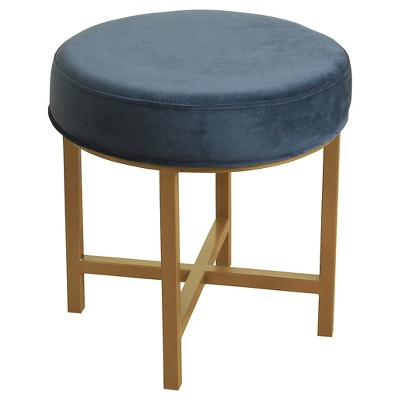 Circle Ottoman with Midnight Velvet Fabric and Gold Metal X Base  - HomePop