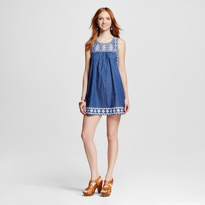 Women's Embroidered Chambray Dress S - Blu Pepper (Juniors')