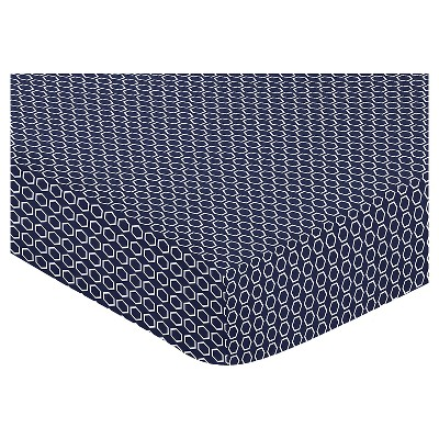 Sweet Jojo Designs Orange & Navy Arrow Fitted Crib Sheet -  Hexagon Print