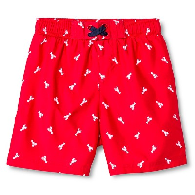 Baby Boys' Lobster Print Swim Trunk Red 9M - Circo™