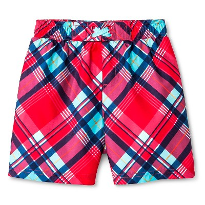 Baby Boys' Plaid Swim Trunk Red/Navy 12M - Circo™