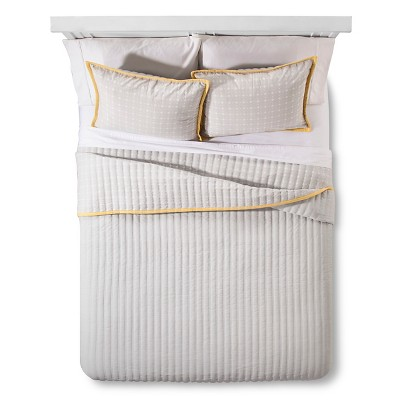 Kent Grid Quilt Set King Yellow&Grey - 3 pc - Brooklyn & Bond™
