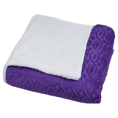 Yorkshire Home Geometric Etched Blanket with Sherpa - Purple (King)