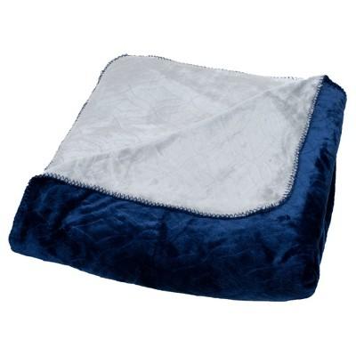 Yorkshire Home Super Warm Flannel-Like Reversible Blanket - Blue/Grey (Full/Queen)