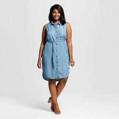 Women's Plus Size Sleeveless Shirtdress - Ava & Viv™