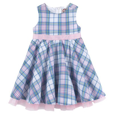 G-Cutee® Baby Girls' Plaid Dress with Pink Ribbon - Pink/Blue 12-18 M