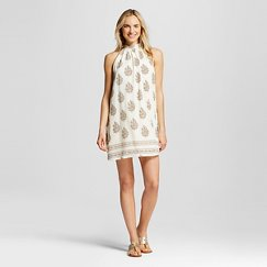 Women's Printed High Neck Dress Ivory - Hint of Mint (Juniors')