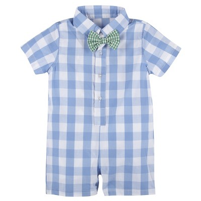 G-Cutee® Baby Boys' Gingham Shirtall with Bowtie - Light Blue 12-18 M