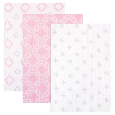 Hudson Baby Muslin Swaddle Blanket 3pk - Pink Damask