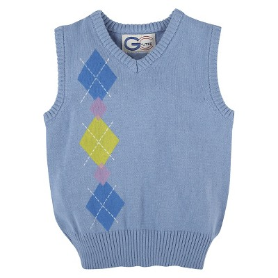 G-Cutee® Baby Boys' Argyle Printed Sweater Vest - Light Blue 6-12 M