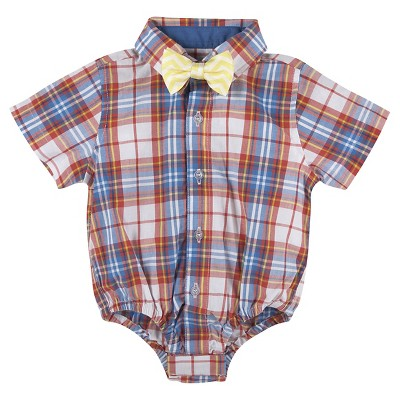 G-Cutee® Baby Boys' Plaid Shirt with Zig Zag Bowtie - Red/Yellow 6-12 M