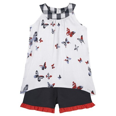 G-Cutee® Baby Girls' Butterfly Top & Short Set- White/Navy 3-6 M