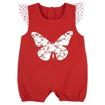 G-Cutee® Newborn Girls' Butterfly Printed Romper - 0-3M Red